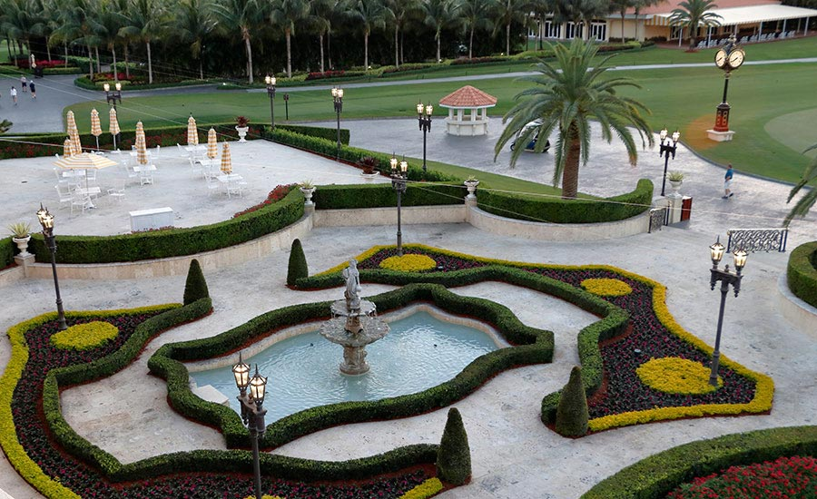 patio with adjoining golf course at Doral