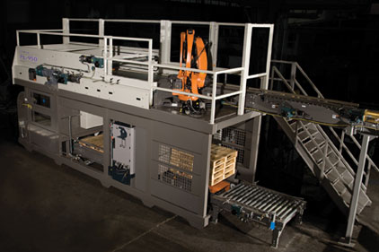 the Intelligrated Alvey 950 hybrid robotic inline palletizer