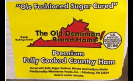 Recalled ham label