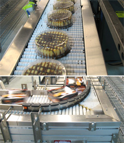 <div>(top): A plastic dome is placed over the top of the cake to keep the toppings intact before shrink-wrapping. (bottom): The Slip-Torque low back-pressure accumulation system stages the cheesecake cartons for induction into the case packer. Source: Shu