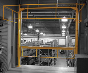 The Benko Protect-O-Gate Clear-Aisle mezzanine safety gate