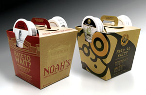 Packaging for a bagel bucket was redesigned with 100 percent renewable materials