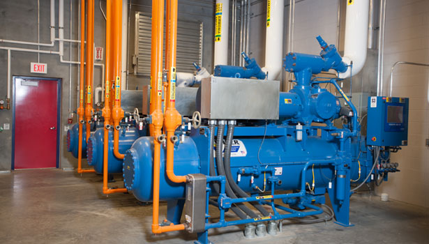High-efficiency Vilter chillers are the heart of the plant's cooling system.