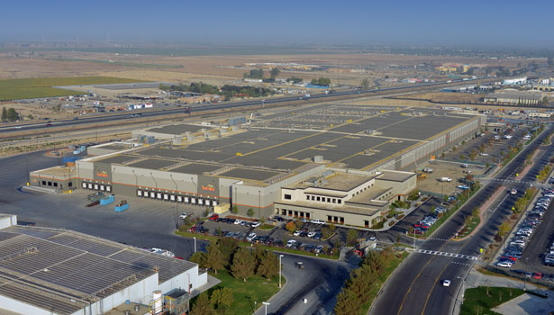 the roof at Paramount's new plant contains solar cells