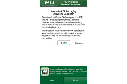 A free app from PTI lets users calculate the recyclability of their PET containers