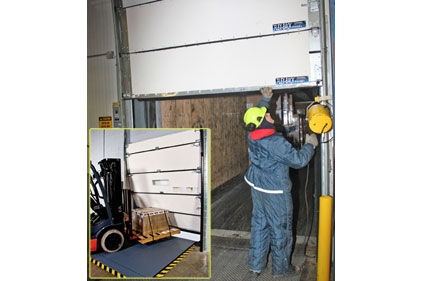 Ben and Jerry's maintenance staff replaced rigid bottom panels on its receiving dock doors with flexible FLEX-BACK panels
