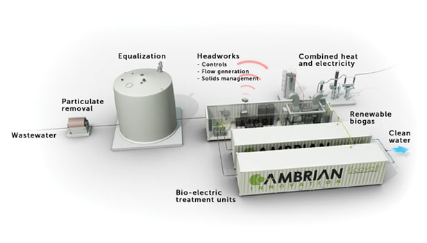 Microbes that eat BOD in the treatment water help the Cambrian EcoVolt system produce clean water and clean energy.