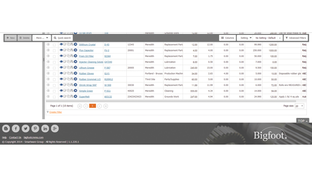 A CMMS such as Bigfoot CMMS can provide a quick search on parts and supplies with drill down information on part names and numbers. Source: Smartware Group.