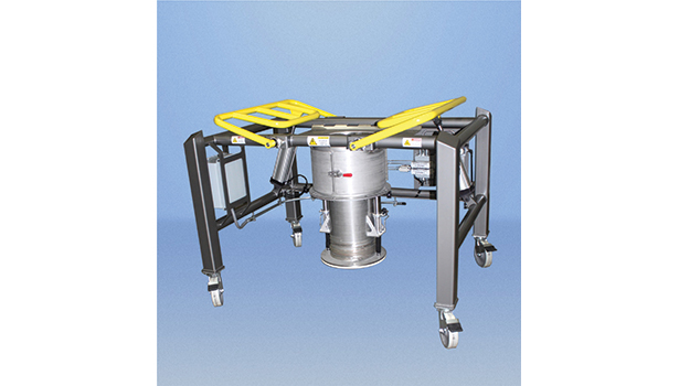 Low-headroom bulk bag discharger