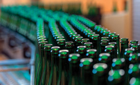 bottles on production line