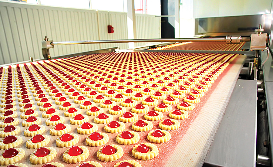 pastries on conveyor