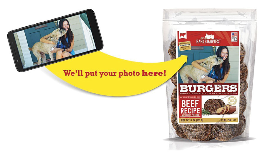 pet photo on dog treat packaging