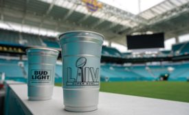 aluminum cups at the Super Bowl