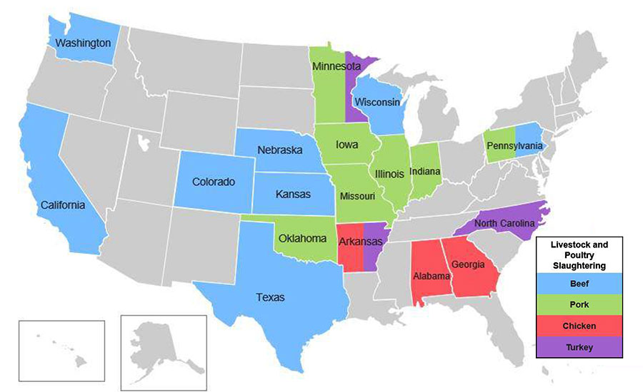 states with meat slaughtering facilities