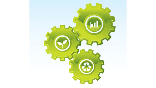 green manufacturing graphic gears
