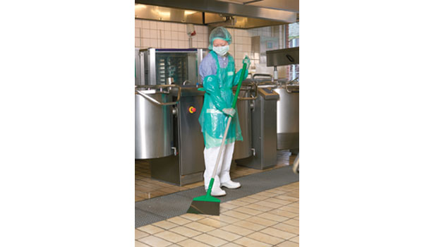 woman cleaning floor food plant safety