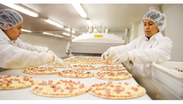 frozen pizza factory workers