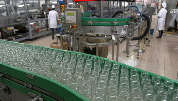 glass bottles factory floor