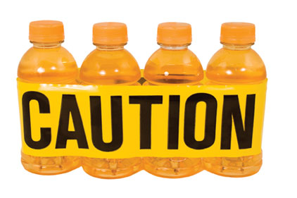 organge caution around bottle caffeine