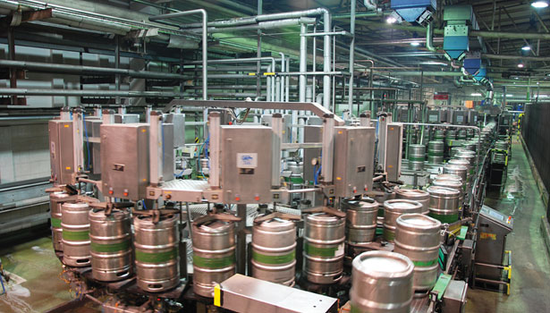 kegs barrels cleaned filled pilsen plant