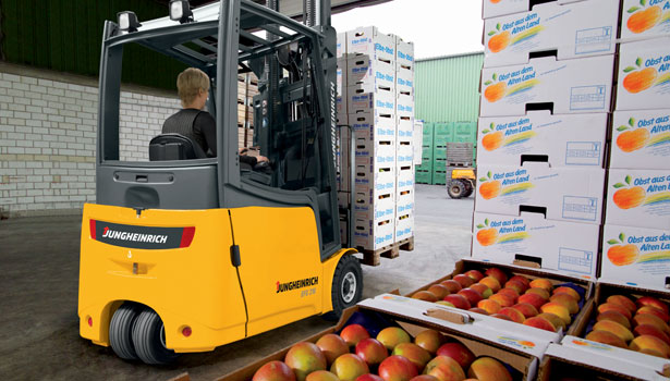 lift trucks warehouse man apples