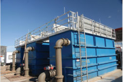 waste water tanks blue gray