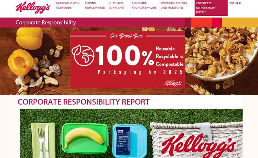 Kellogg announces 100 percent sustainable packaging goal | 2018-10