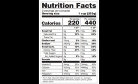Two-column nutrition facts panel