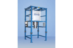 Forklift bulk bag weighing and discharge system